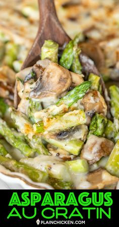 Asparagus and Mushroom Au Gratin - easy & tastes great! Asparagus and mushrooms topped with easy cheese sauce made with butter, flour, milk, sherry and mozzarella cheese. Ready to eat in 30 minutes! Dinner Side Dishes, Dinner Sides, Healthy Side Dishes, Vegetable Sides, Side Dishes Easy, Vegetable Side Dishes, Side Dish Recipes, Vegetable Recipes, Veggie Recipes Sides