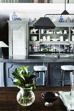 Classic kitchen inspiration: 14 kitchens with enduring style: This French-inspired kitchen in rural New South Wales uses collected ceramics to ad personality to the space without being too quirky to stand the test of time.