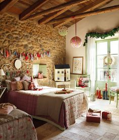 An old farmhouse in Spain that is inspired by Christmas traditions An old farmhouse in Spain that is inspired by Christmas traditions Always aspired to be able to knit, although undecided. Girls Bedroom, Bedroom Decor, Bedroom Nook, Bedroom Night, Closet Bedroom, Spanish House, Home And Deco, Kid Spaces, Christmas Traditions
