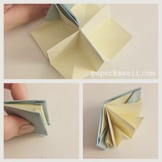 Origami Popup Book Video Tutorial Learn how to make an origami pop up book! This book opens up into 4 sections it could be a mini house with 4 rooms or a pretty landscape scene Origami Cards, Origami Paper, Origami Books, Dollar Origami, Origami Folding, Fabric Origami, Diy Origami, Origami Design, Book Crafts