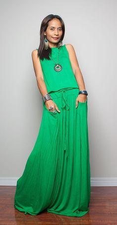 Green Maxi Dress -  Sleeveless dress : Autumn Thrills Collection No.9   (New Arrival)