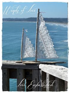 Driftwood Beach Decor Pair of Sail Boats Antique Lace Sails Favors for Tropical Beach Themed Weddings- Cottage Decor- Beach Seaside Wedding