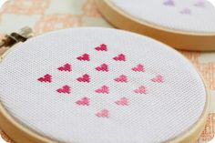 Cross stitch ombre (any excuse to use the word ombre) hearts