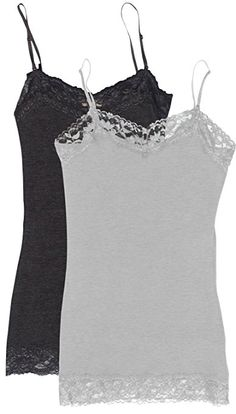 35e4c10982  6.49 Simlu Lace Camis Cotton Camisole Cami Tank Top Lace Layering Tank Top  for Women Medium 301 - 2 Pk Heather Grey   Charcoal
