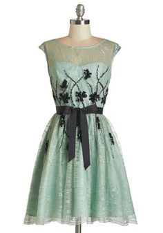 I Had a Vision of Lovely Dress - Prom, Party, Homecoming, Black, Beads, Lace, Sequins, Special Occasion, Fit & Flare, Cap Sleeves, Woven, La...