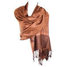 Amazon.com: Jacquard Paisley Pashmina tan-gold-cocoa brown