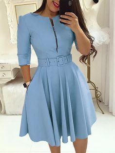 Load image into Gallery viewer, Women Fall Half Sleeve Elegant Tunic Party Dress Female O Neck Solid Zipper Belted Pleated Casual Office Dress Vestidos mujer - MACchar Company Beautiful Casual Dresses, Trendy Dresses, Simple Dresses, Fashion Dresses, Maxi Dresses, Party Dresses, Elegant Dresses, Blue Dresses, Formal Dresses
