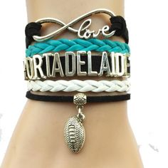 Infinity Love Port Adelaide Power Football Bracelet BOGO Football Bracelet, Bangle Bracelets, Bangles, Power Bracelet, Australian Football, Infinity Love, Leather Gifts, Bling, Stuff To Buy