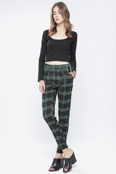 GREEN PLAID TROUSERS