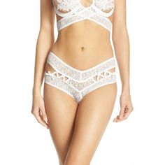 For Love & Lemons 'Cindy' Lace Thong ($84) ❤ liked on Polyvore featuring intimates, panties, white, lace lingerie, white thong, white lingerie, lacy thong and white lace lingerie