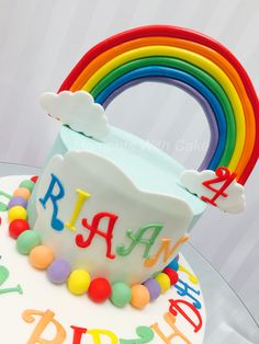Rainbow cake. Bright colors are so pretty on cakes.