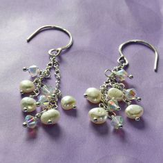 Swarovski Crystal Earrings Pearl Dangles Cultured by STBridal