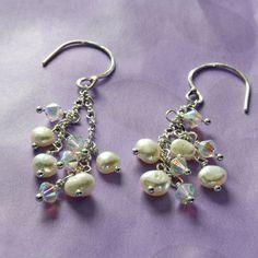 Swarovski Crystal Earrings Pearl Dangles Cultured by STBridal