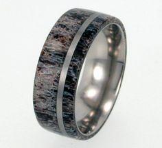 Deer Antler Titanium Ring Titanium Pinstripe by jewelrybyjohan