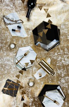 Black, Gold, Marble  NYE Partyware