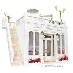 DIY Doll House Villa Wooden Toys, Kits DIY Wood Dollhouse miniature with light and Furniture Angel Dream House - Free Shipping