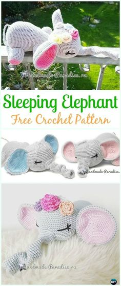 Crochet Sleeping Elephant Amigurumi Free Pattern - Amigurumi Crochet Toy Softies Free Patterns toys patterns diy free crochet Crochet Elephant Softie and More Free Patterns Tutorials Crochet Gratis, Crochet Amigurumi Free Patterns, Crochet Elephant Pattern Free, Ravelry Crochet, Free Toy Knitting Patterns, Diy Crochet Elephant, Felt Patterns Free, Crochet Animal Amigurumi, Crocheting Patterns