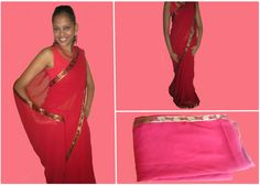 Cherry Red Chiffon Saree. Code: MC002  Cherry red chiffon saree with red fern leaf border. The blouse is metallic colour as on the border of the saree.  Drop a comment below to place an order.