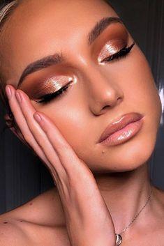 30 Wedding Makeup Looks To Be Exceptional ❤ wedding makeup looks gold eyeshadows long lashes nude lips jackcail #weddingforward #wedding #bride #weddingmakeup