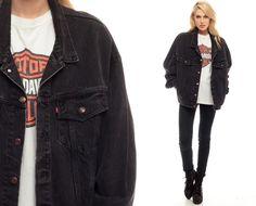Black Denim Jacket 80s Levi Jean & Harley Davidson shirt