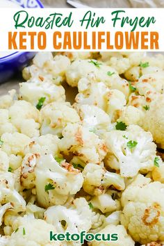Crispy, tasty, and easy to cook on any day, any time, keto air fryer cauliflower is a handy snack to always keep on the menu. Its bold flavors and crusty finish taste even better when paired with tangy tomato sauce. The best part about this keto cauliflower recipe is that - made in an air fryer - it is healthier. When preparing it, you can also play with the ingredients. | KetoFocus @ketofocus #ketosidedish #ketocaulifowerrecipes #ketoairfryerrecipes #easyketosidedishes #ketofocus