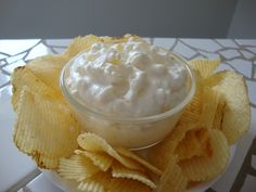 Pineapple Cream Cheese Dip - sooo yummy with Lay's Potato Chips.  I use crushed pineapple. This sounds/looks weird, but it is so good. Sweet and salty. My mom and my grandma have made this forever!