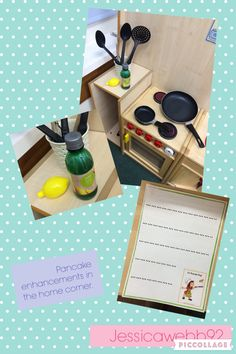 Pancake day enhancements on the home corner. Lemon juice, pans, pancakes, recipe cards, ingredient shopping lists.  EYFS