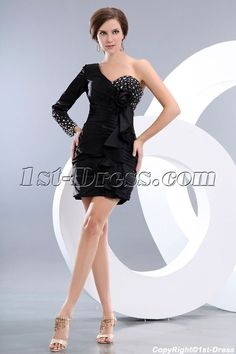 1st-dress.com Offers High Quality Special One Shoulder Long Sleeves Little Black Cocktail Dress,Priced At Only US$129.00 (Free Shipping)