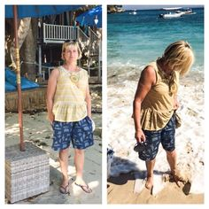 """@shazmar58 killing it again in her """"me made"""" holiday outfits! This time using @artgalleryfabrics #denimstudio puzzle sandblast fabric for these awesome shorts. Fabric available at www.bravefabrics.com by brave_fabrics Denim Studio, Holiday Outfits, Brave, Tank Man, Puzzle, Fabrics, Shorts, Awesome, Instagram Posts"""
