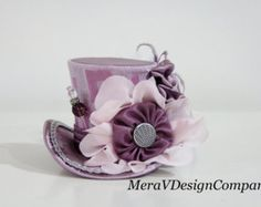 Wedding Top Hats for Women | Mini Top Hat, Light Pink Steampunk Hat, Bridal Wedding Hat, Mad Hatter ...
