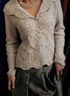 Ravelry: Kelmscott pattern by Carol Sunday. I love this pattern-so over my skill level right now Ravelry: Kelmscott pattern by Carol Sunday. I love this pattern-so over my skill level… Knit Jacket, Knit Cardigan, Lace Sweater, Mens Knit Sweater Pattern, Sweater Patterns, Crochet Jacket, Cardigan Pattern, Crochet Trim, Knit Crochet