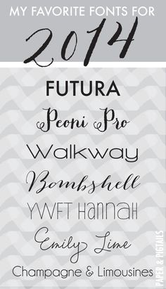 Favorite Fonts for 2014. Love Champagne and Limousines font #fonts