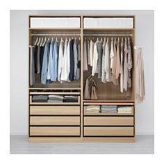 PAX Wardrobe, white stained oak effect, Ilseng white stained oak veneer - 200x66x236 cm - soft closing damper - IKEA
