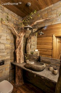 48 The best washbasin design you can find in your bathroom .- 48 Das beste Waschtischdesign, das Sie in Ihrem Badezimmer ausprobieren können 48 The best washbasin design you can try in your bathroom - Rustic Bathroom Designs, Rustic Bathrooms, Dream Bathrooms, Log Cabin Bathrooms, Vanity Design, Sink Design, Washbasin Design, Stone Sink, Stone Bathroom Sink