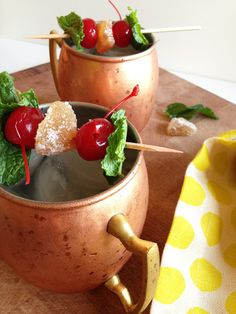 Moscow Mules (w/ cherry & mint)
