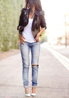 Walk+In+Wonderland+wearing+Zara+Leather+Jacket+++Boyfriend+Jeans+++Sole+Society+Giselle+in+Mint+++Lanston+Tank+++Karen+London+Bracelet-5.jpg (717×1010)