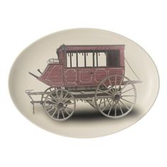 STAGE COACH PORCELAIN SERVING PLATTER - rustic style country natural diy customize personalize