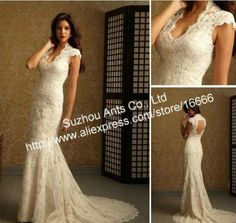 Cap Sleeve Court Train Button Mermaid 2012 Backless Lace Wedding Dress Ivory
