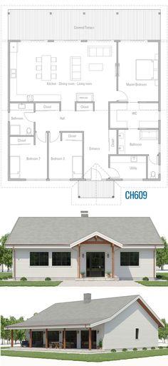 Mini Häuser Home Plans, House Plans, Architecture Y Pole Barn House Plans, Pole Barn Homes, Small House Plans, The Plan, How To Plan, Architecture Design, Plans Architecture, Farmhouse Plans, House Layouts