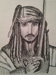 Pirates of Carribbean Johnny Depp 18x24 art print by Holly Hill