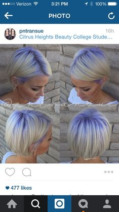 Beautiful hair color with purple roots melting into platinum hair created by hair artist Paige Transue Using Pravana Vivids hair color More Hair Styles Like This! Hair Colorful, Bright Hair Colors, Short Hair Cuts, Short Hair Styles, Platinum Hair, Platinum Pixie, Hair Color And Cut, Great Hair, Hair Today