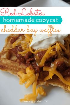 Copycat Red Lobster Cheddar Bay Waffles - from scratch! No box mixes here. Caramel Apple Crisp, Caramel Apples, Waffle Recipes, Copycat Recipes, Best Apple Crisp Ever, Cheddar Bay Biscuits, Homemade Chili, Red Lobster, Casserole Dishes