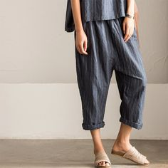 Korean Style Stripe Linen Pants Skirt Women Clothes K7187A