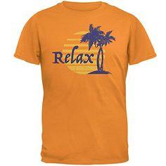 Summer Sun Relax Palm Tree Mens T Shirt Tennessee Orange ...