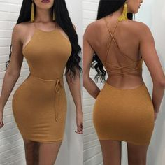 Trendy Lace-up Open Back Bodycon Dress Trendy Dresses, Tight Dresses, Sexy Dresses, Short Dresses, Fashion Dresses, Summer Dresses, Mini Dresses, Sleeve Dresses, Skirt Outfits