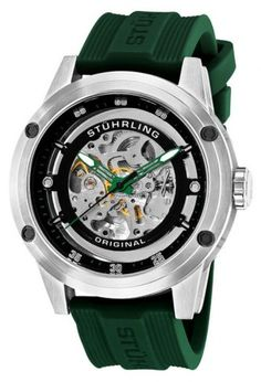 Stuhrling Original 314R.3316D71 Leisure Zeppelin 360 Sport Green Automatic Skeleton Watch For Men