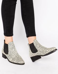 Warehouse Animal Print Leather Chelsea Boots