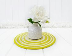 Table Centerpieces, Table Decorations, Chartreuse Color, Cool Tables, Cotton Rope, House Warming, Beautiful, Etsy, Centerpieces