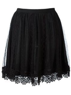 Red Valentino tulle overlay straight skirt