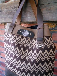 Burlap and leather tote